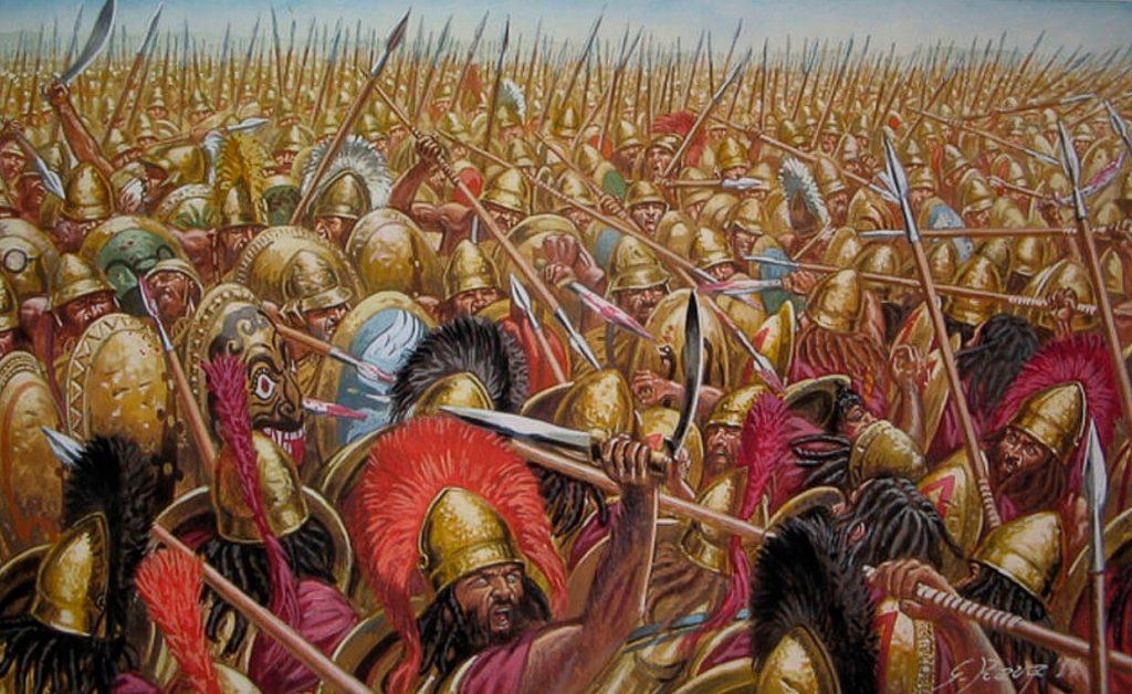 Зображення битви при Левктрах 371 року до н.е.