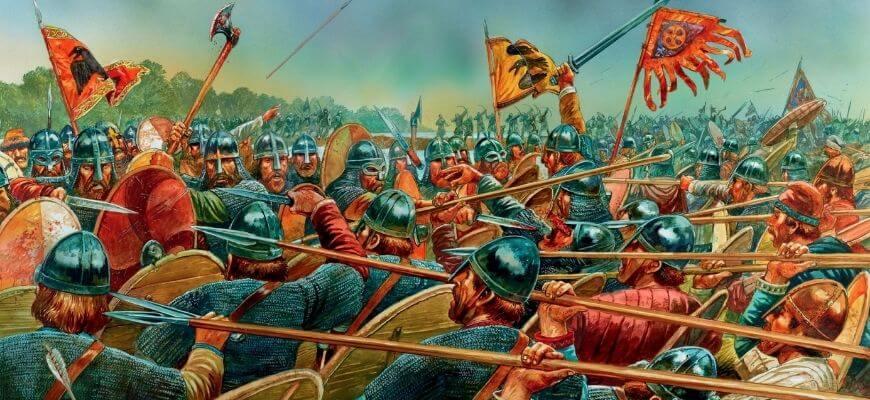 Бой стены щитов англосаксов со стеной щитов викингов