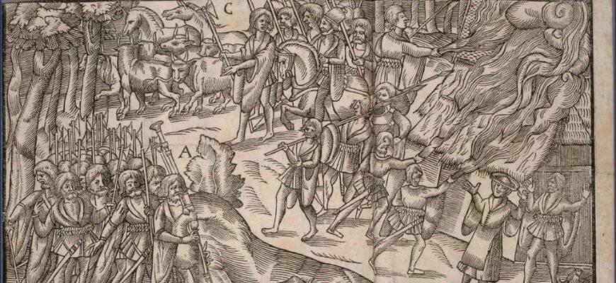 """Галлогласы в рейде на картинке из книги """"Образы Ирландии"""" 1581 год."""