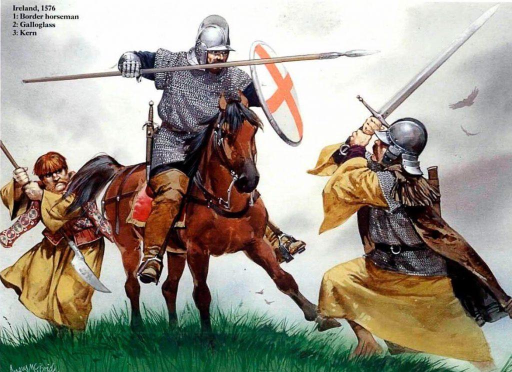 Бой ирландских воинов галлогаласа и керна с английским пограничным всадником