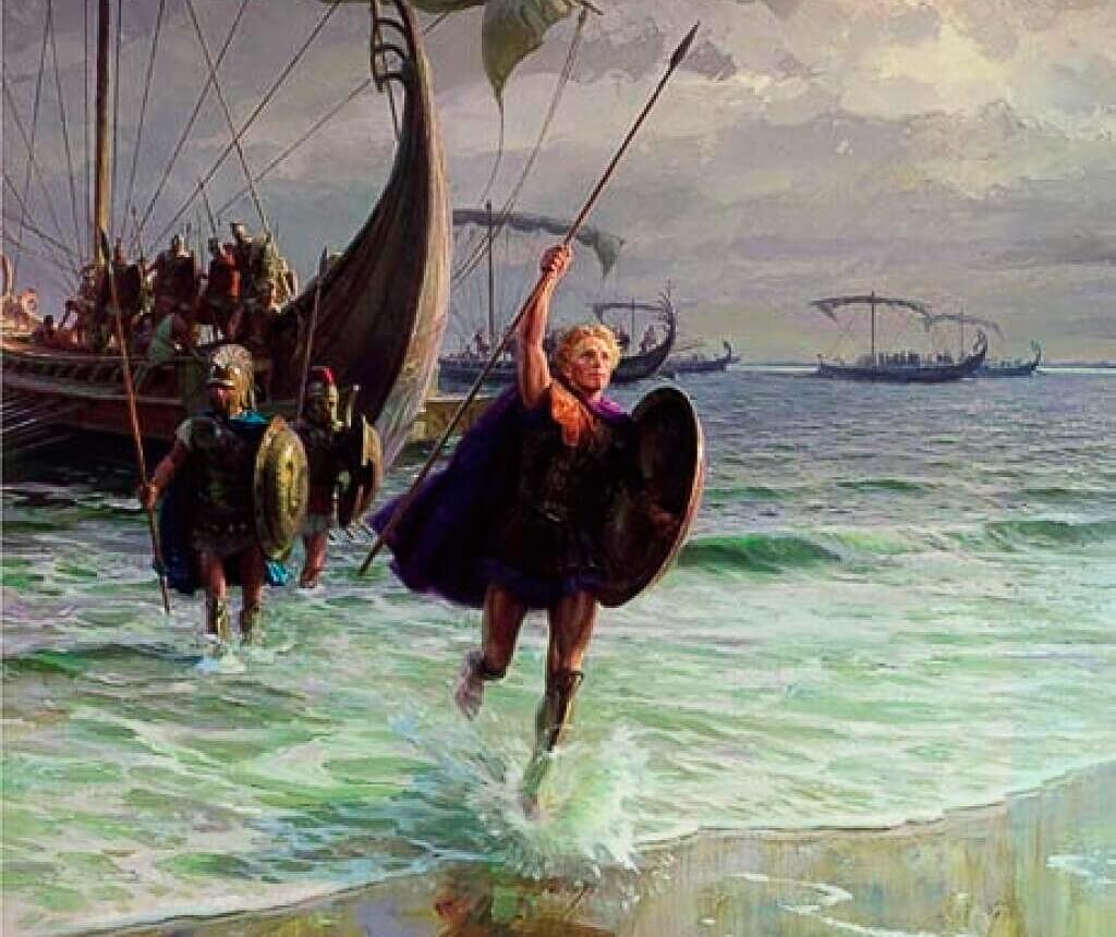 Начало похода Александра Македонского на Восток, царь высаживается в Азии