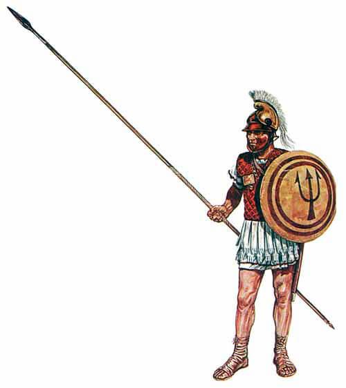 Пельтаст Іфікрата з щитом пельтою та бойовим списом