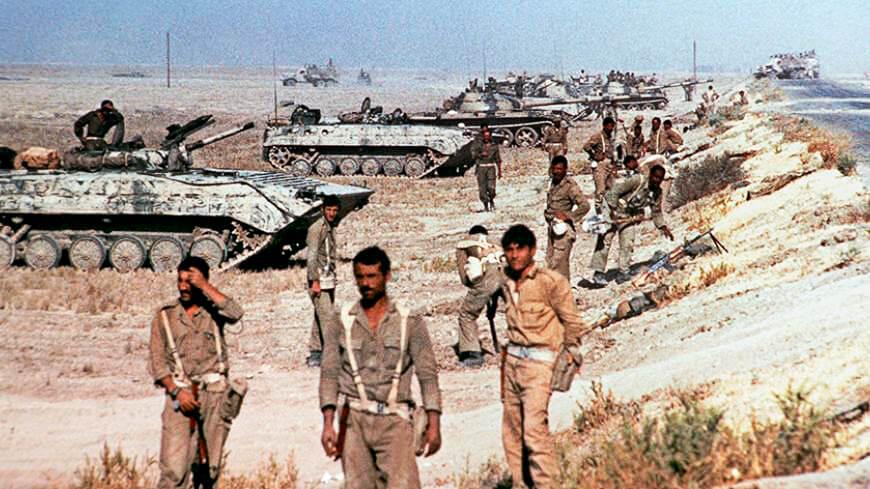 Иракская механизированная дивизия в начале вторжения на подходах к Хорремшехру. Ирано-иракская война, 1980 год.